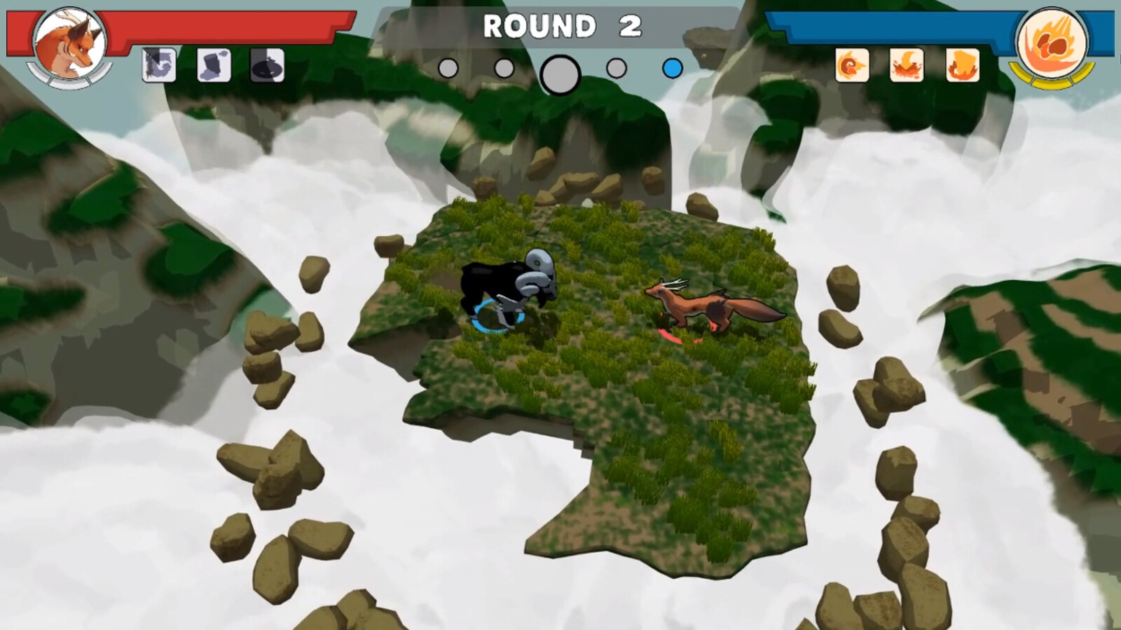 In-game image of the fox fighting the ram.