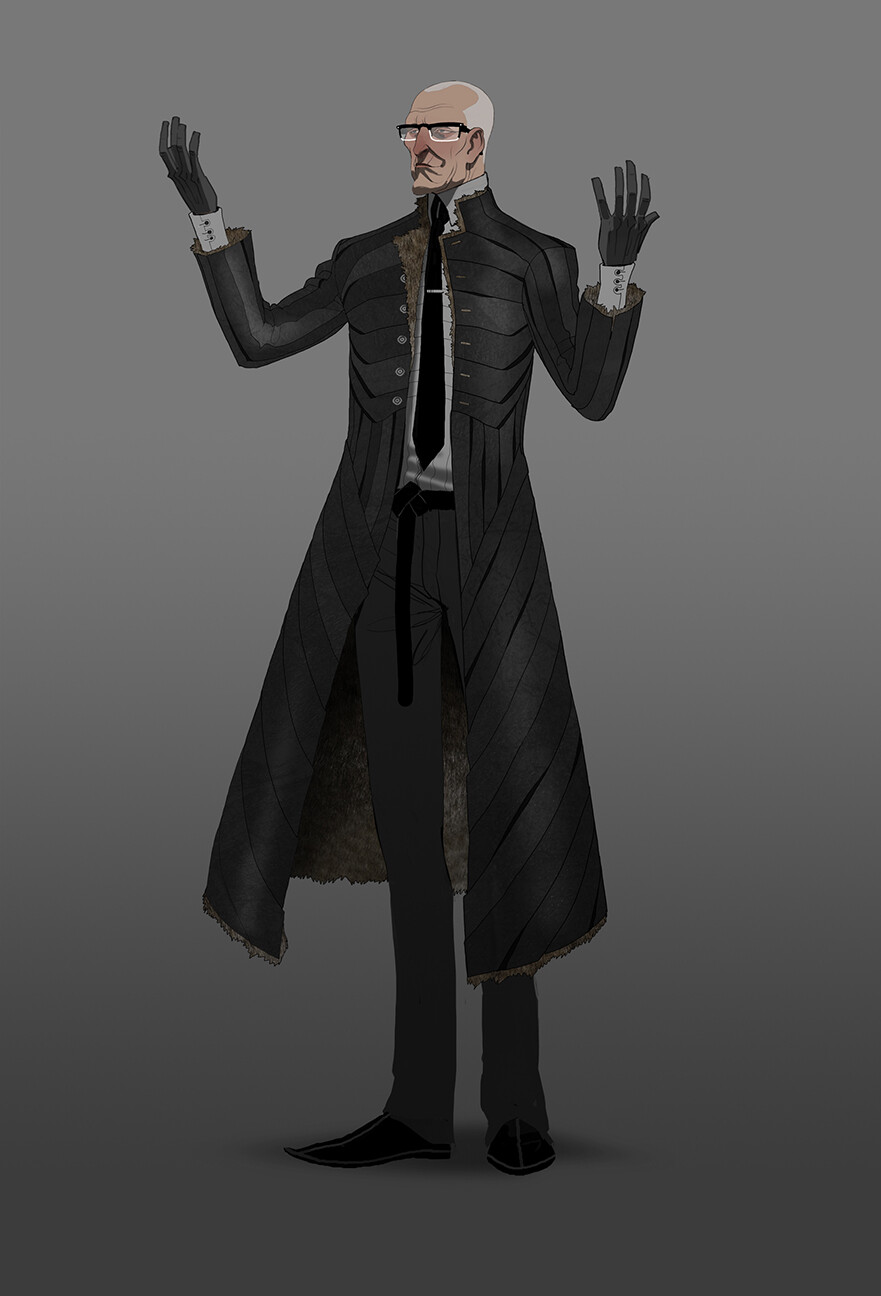 Director Rothbourne, Revolver's big bad. Tried to combine a modern suit with ancient materials in the coat.