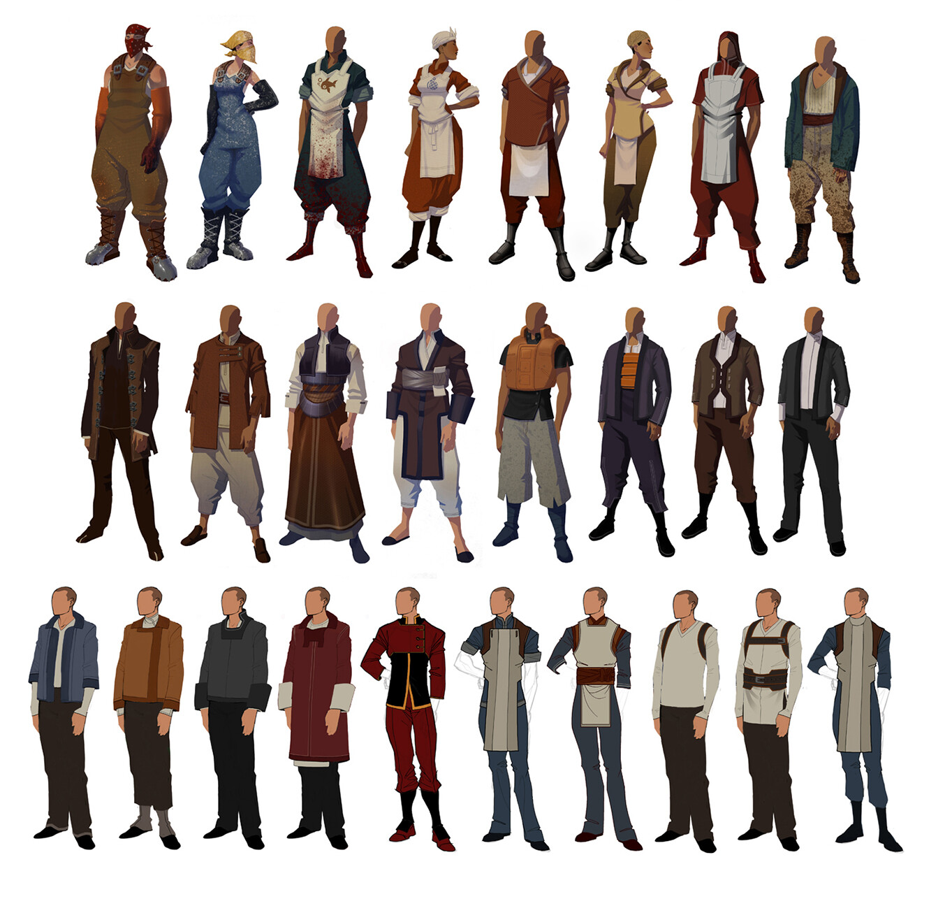 Very early assorted civilians