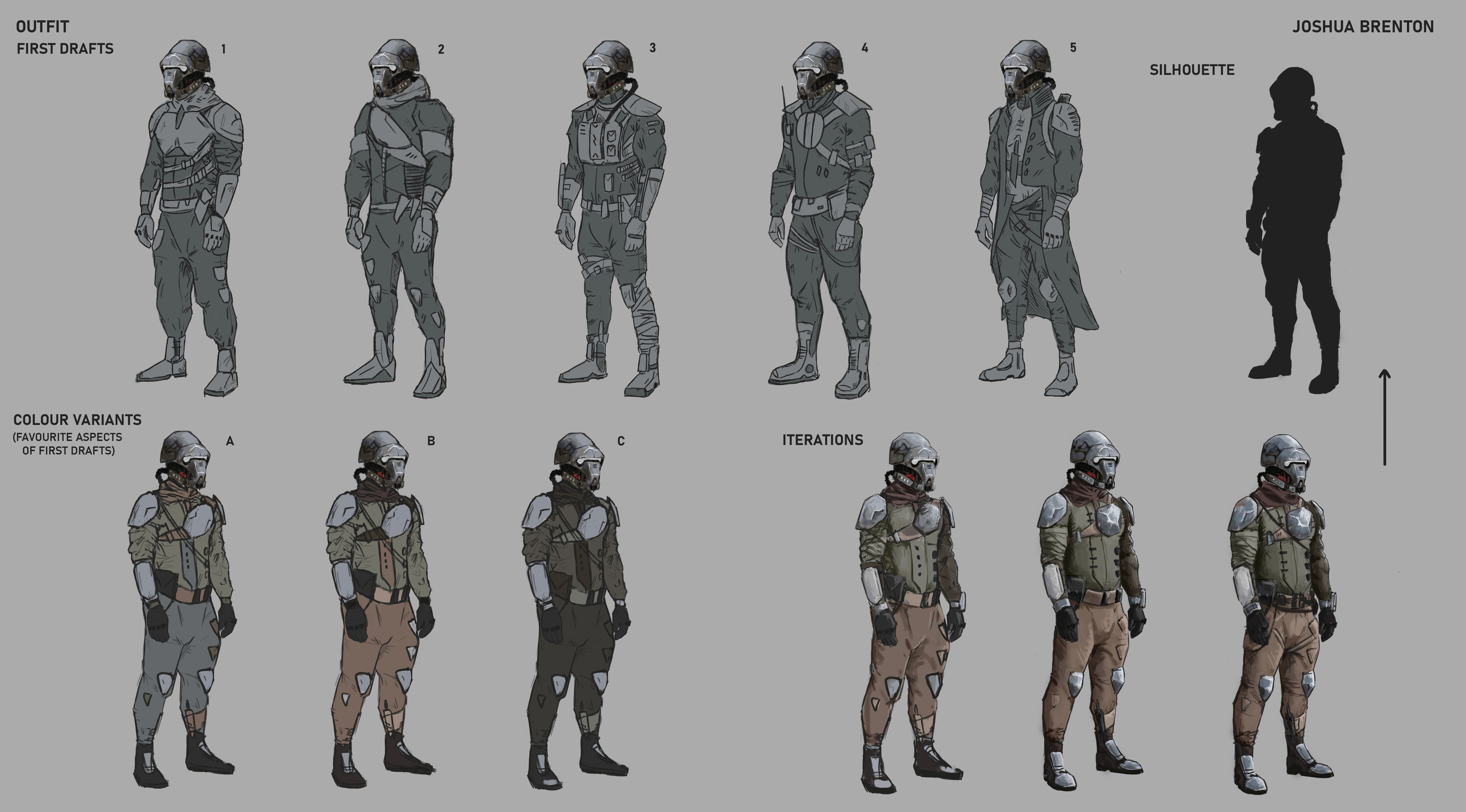 Variants of the character, colour variants based on scheme and iterations of final.