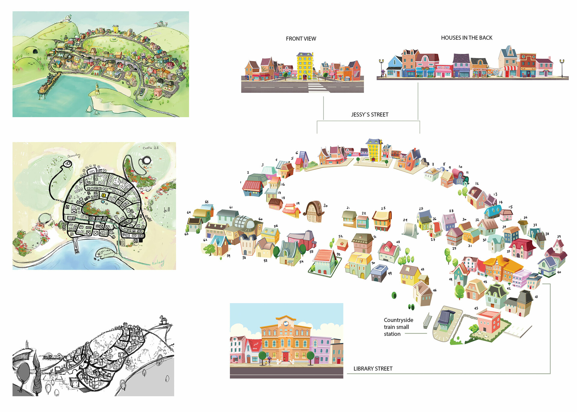 sketches of the town from different PoV and map of the buildings