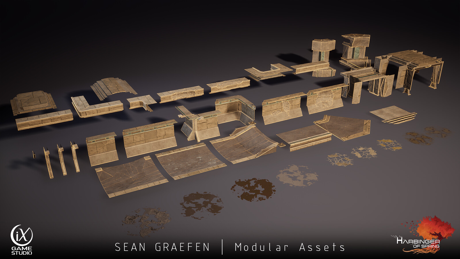 Here are some of my assets that I've modeled.  This is the modular set for the lower level hallways.  All of the assets run off of one parent material so they all have 186 base instructions.