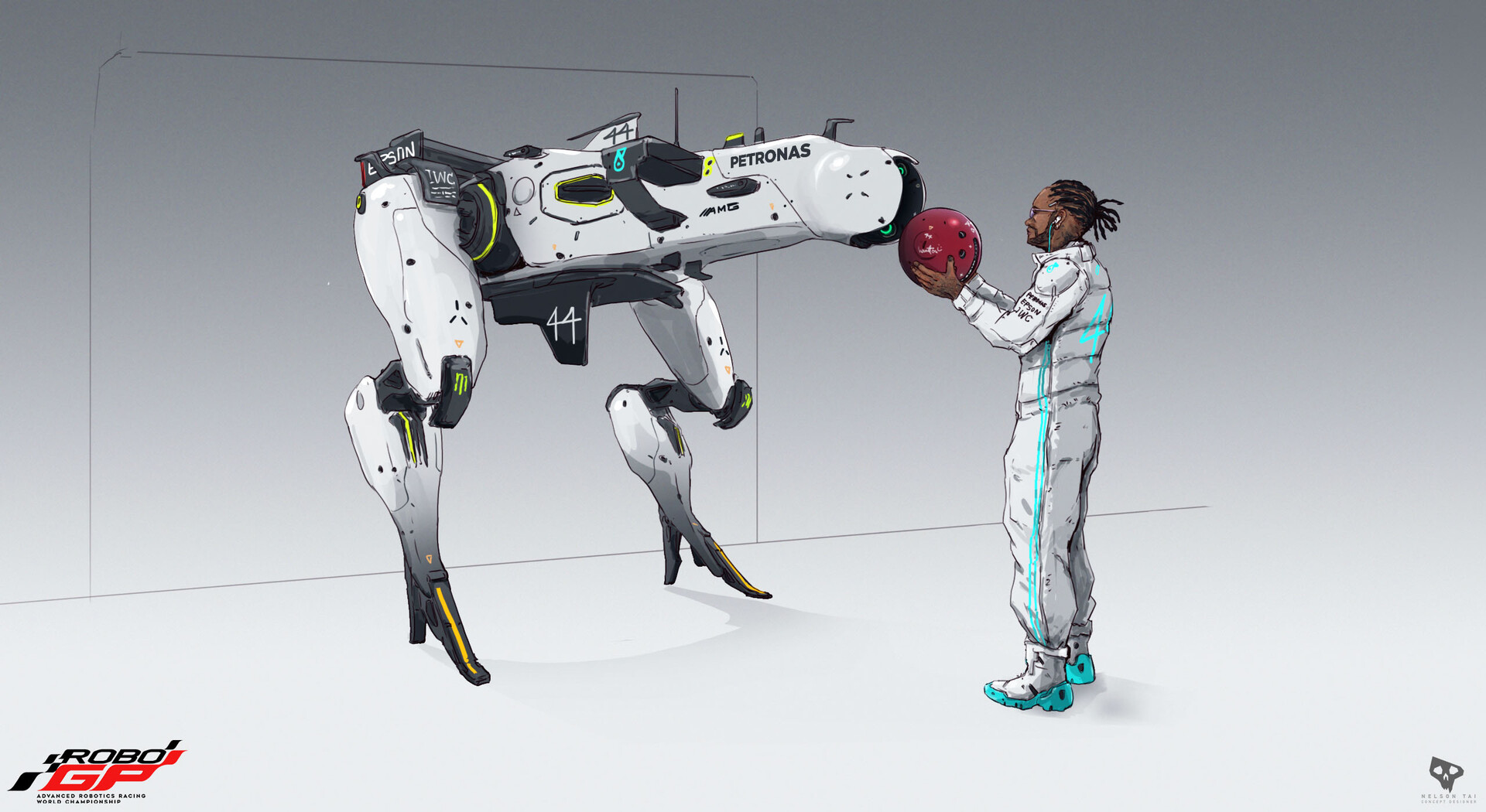 Lewis updates LEWY's data system and attaches the 'Race Sphere' back into LEWY before the race!