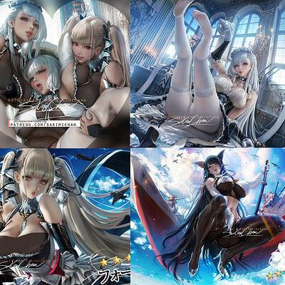 Sakimi chan azurlane 3p preview 01 bundle censore