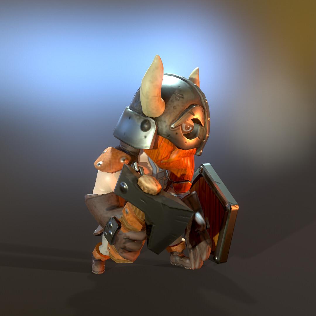 Stylized Lowpoly Viking hero left