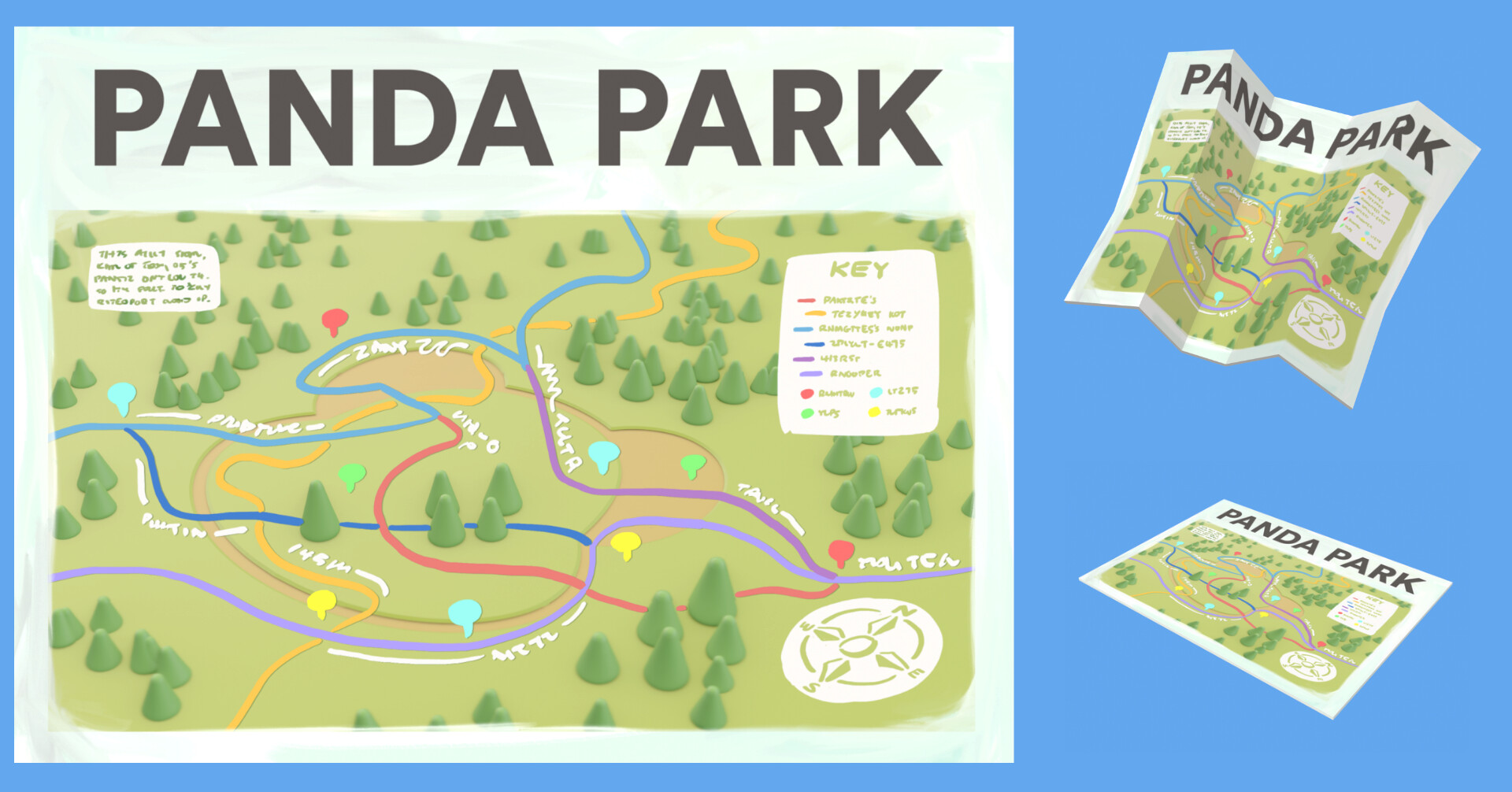A map of Panda Park; the texture is a combination of a quick render and doodling over it