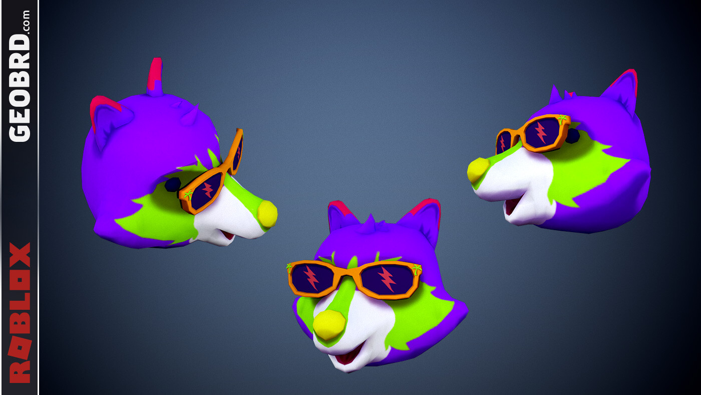 Neon Raccoon Head