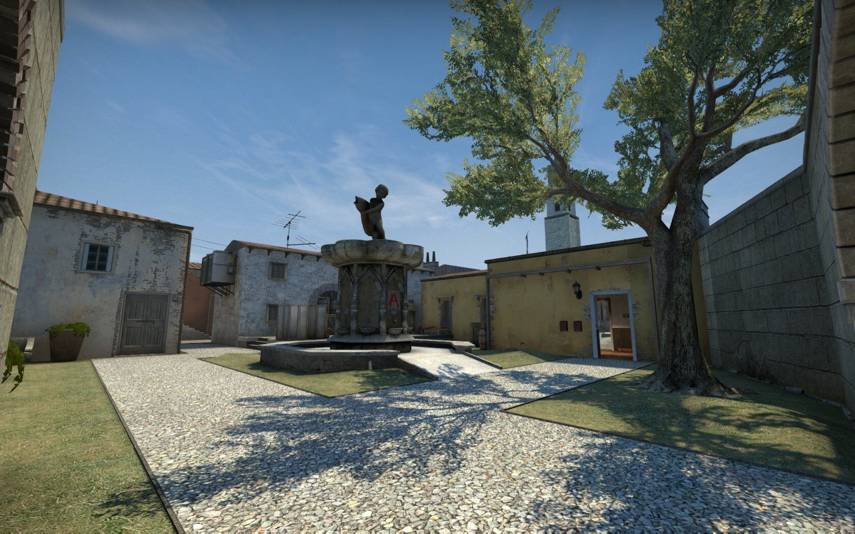 """The """"A-site"""" is similar to Cobblestones B-site in that it is situated around a statue feature."""