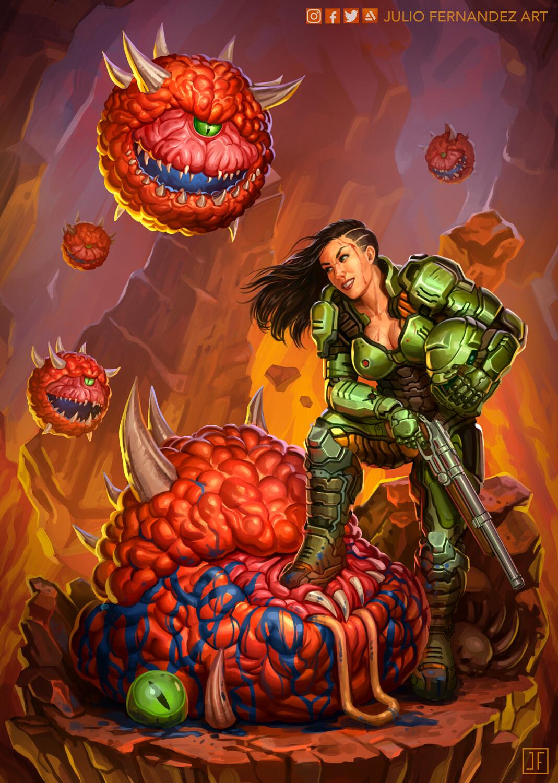 Artstation Doom Slayer Genderbend Julio Fernandez Art