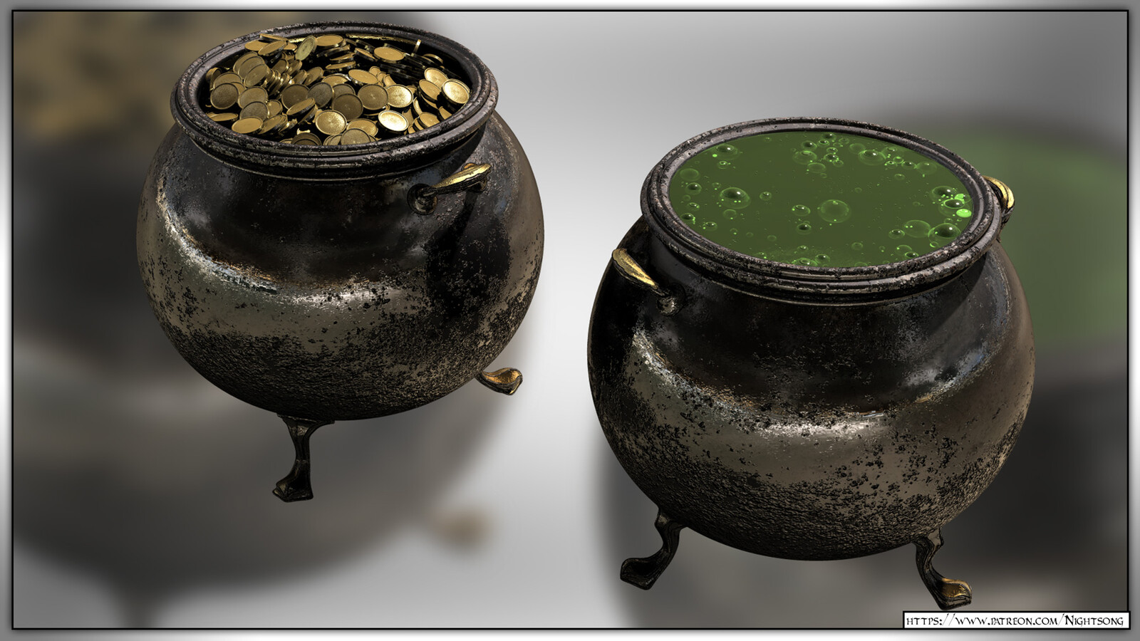 This shows both of the cauldrons, rendered with Poser presets.
