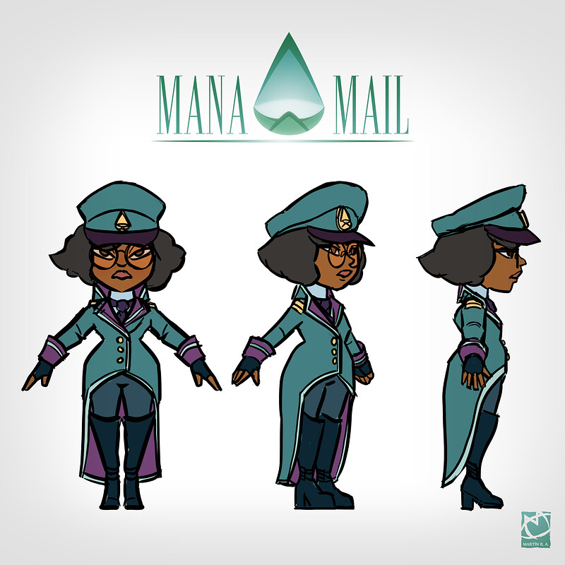Mana Mail logo and girl character