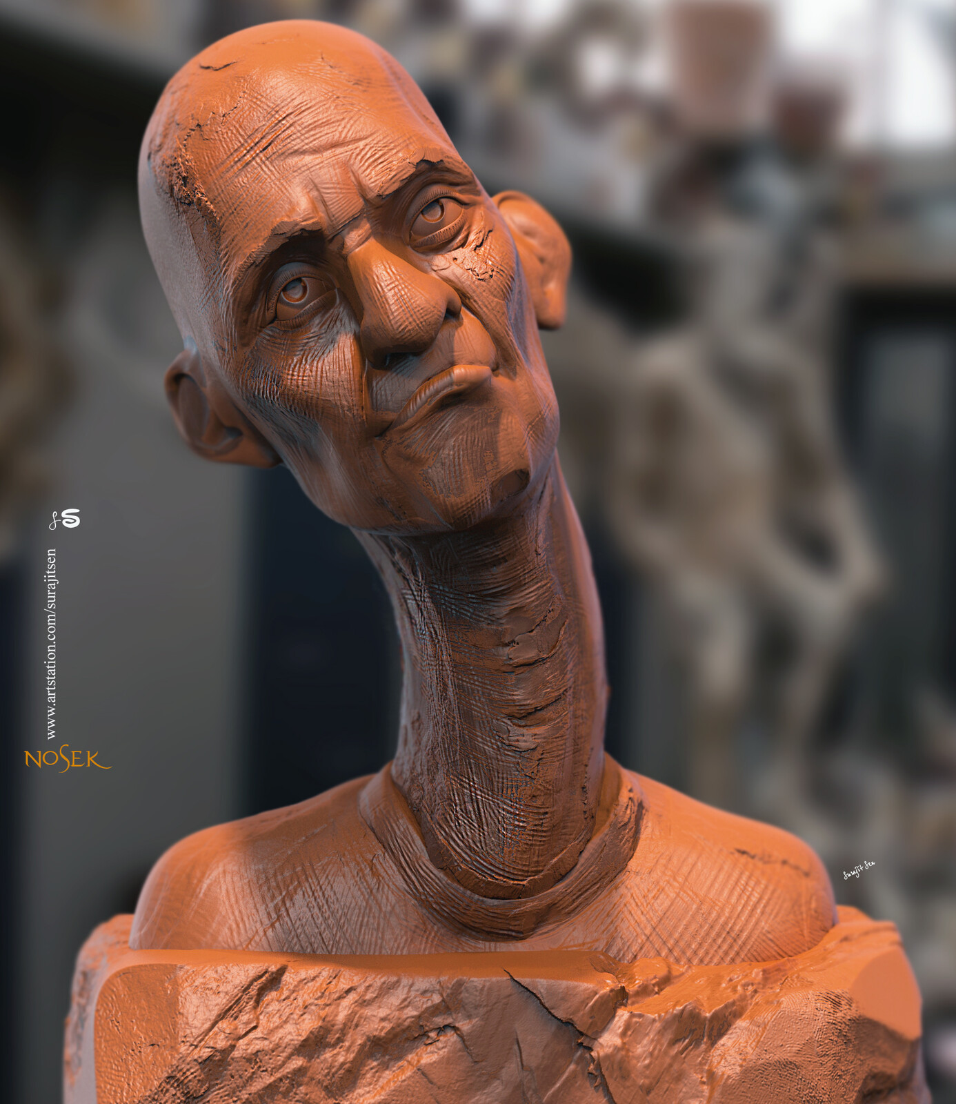 Nosek Quick blocking. Digital Sculpture. Wish to share. #surajitsen #artist #indianartist #digitalsculpting #study