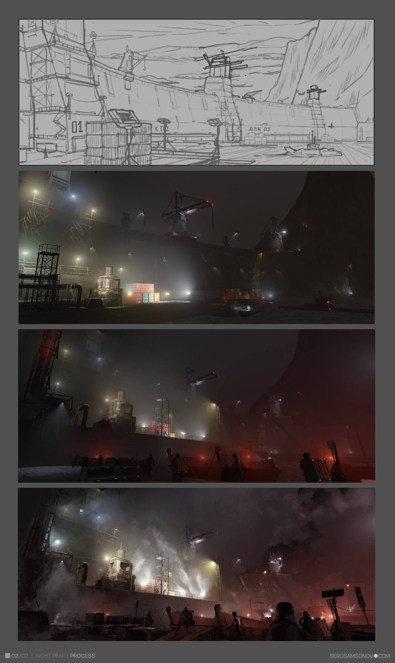 development stages from sketch to final render