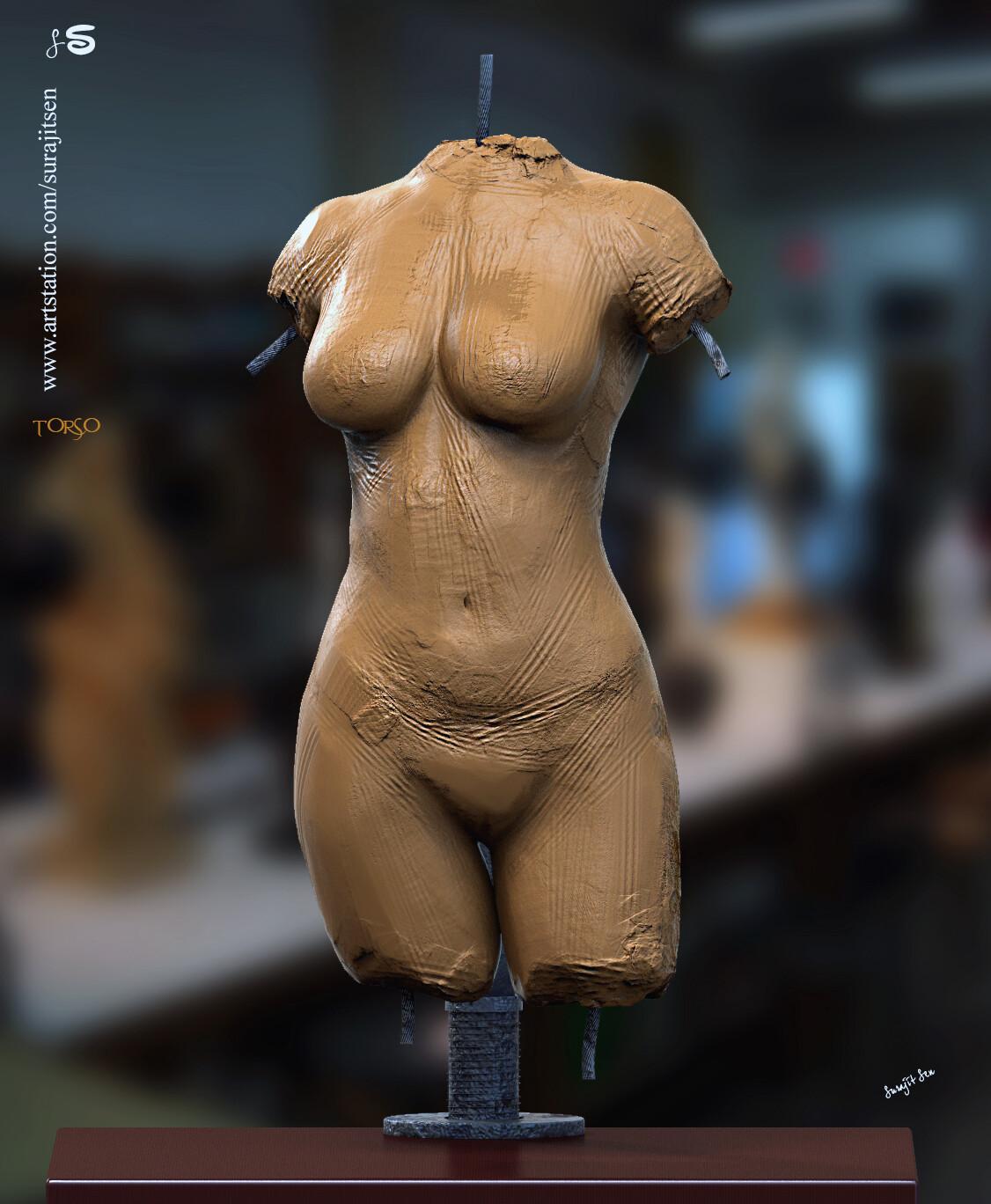 Quick blocking... Digital Sculpture. Female torso
