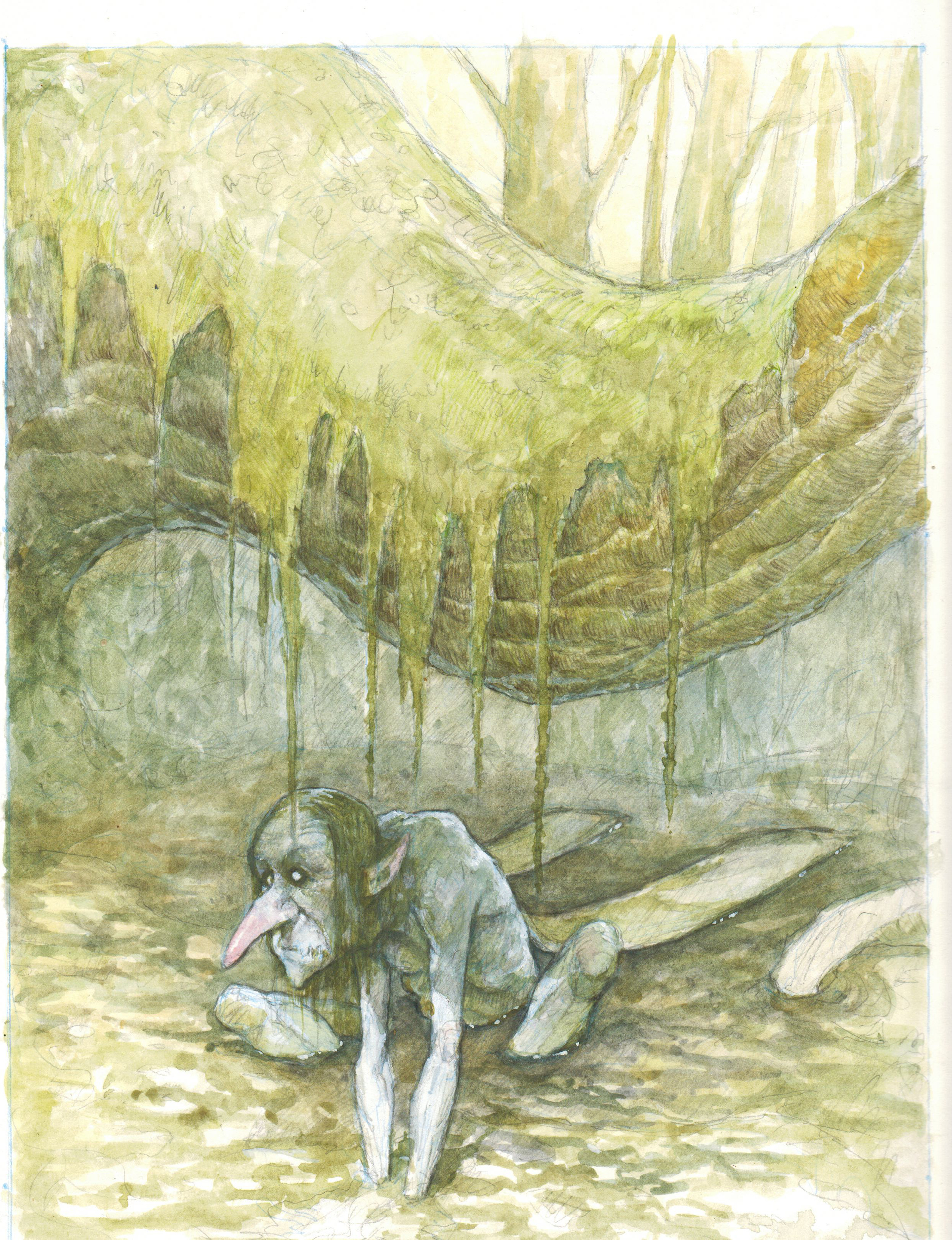 The first version of this image, a failed watercolor, done years ago.