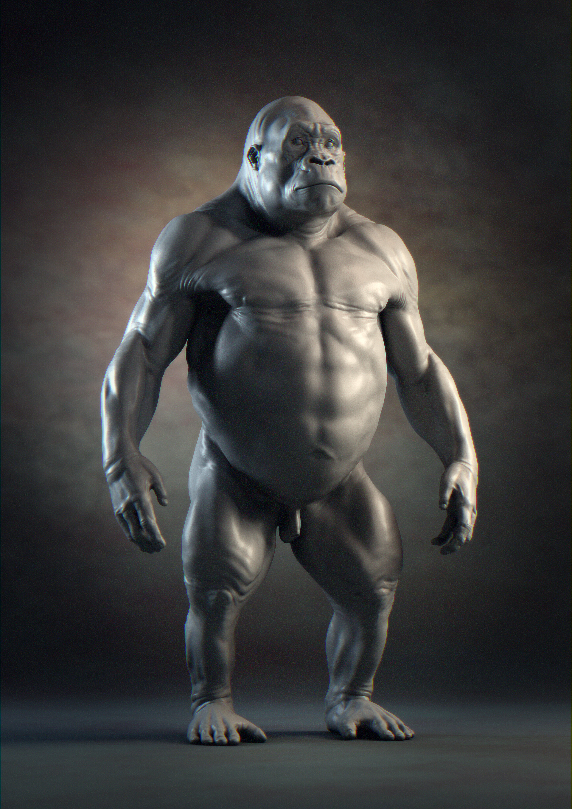 Gorilla anatomy. Sculpted in ZBrush and render in Maya with Arnold