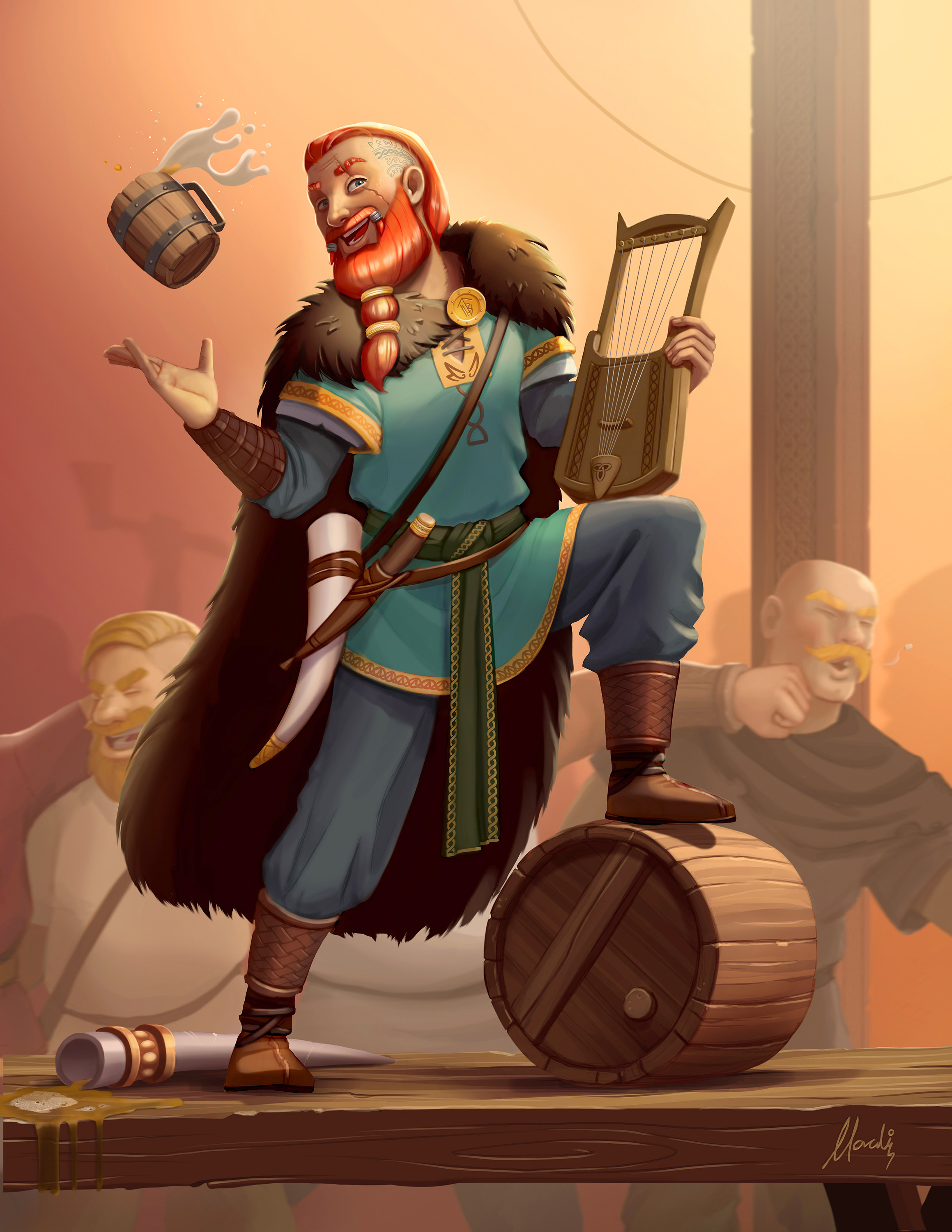 Bragi, as the god of music he is, entertains the dead warriors in Valhalla while they feast, drink and brawl. This is my final illustration.