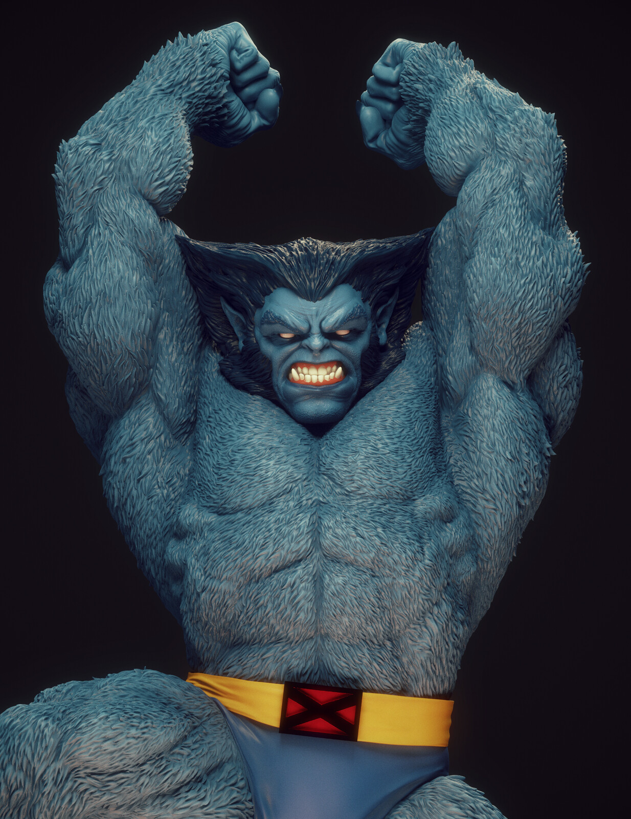 Big angry blue dude