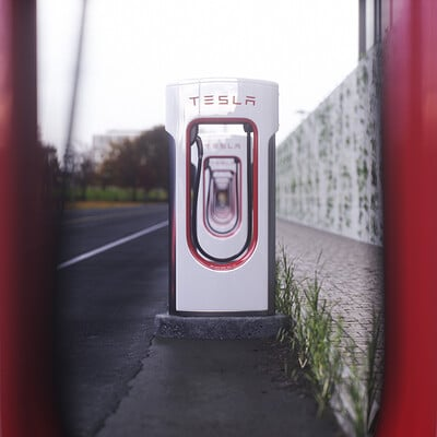 Tesla Supercharger 3D Model and Renders.