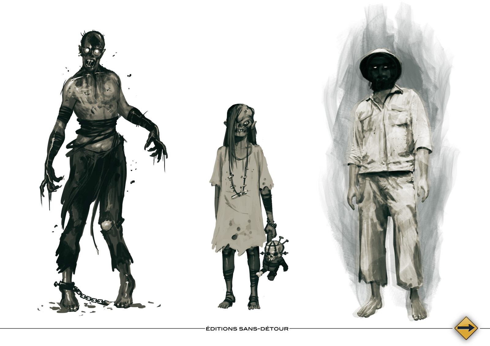 zombie, ghoul children , ghost