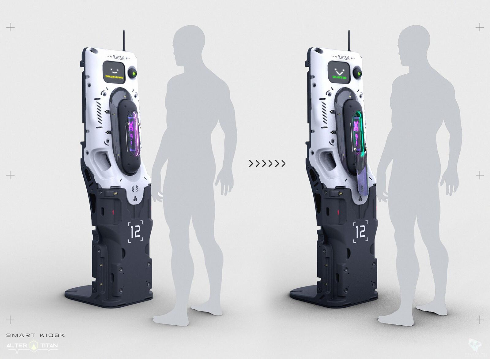 Friendly Kiosk station that dispenses DNA sample carriers