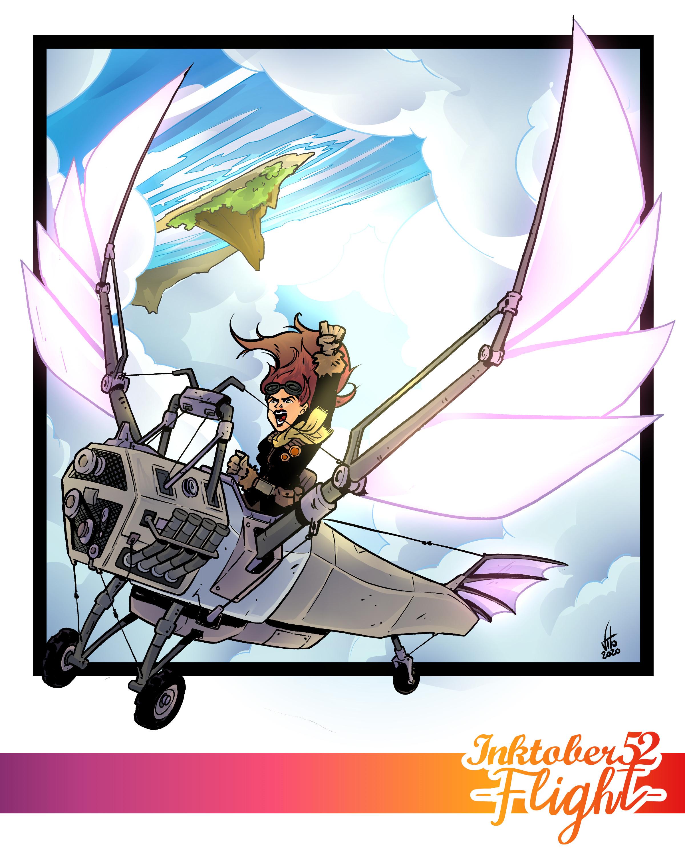 Inktober 52 Week 1: Flight - Digital Coloring