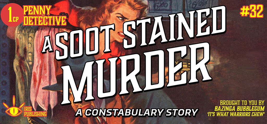 The banner I'm using for the session on Roll20. Background art from an old Dime-Detective magazine.