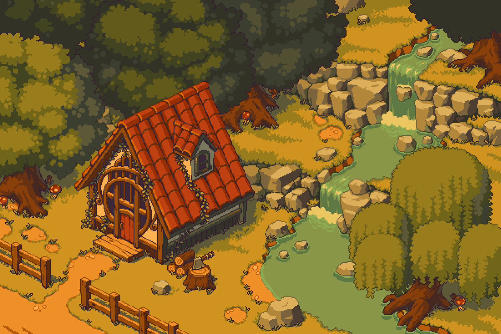 Pixel art cabin and forest scene