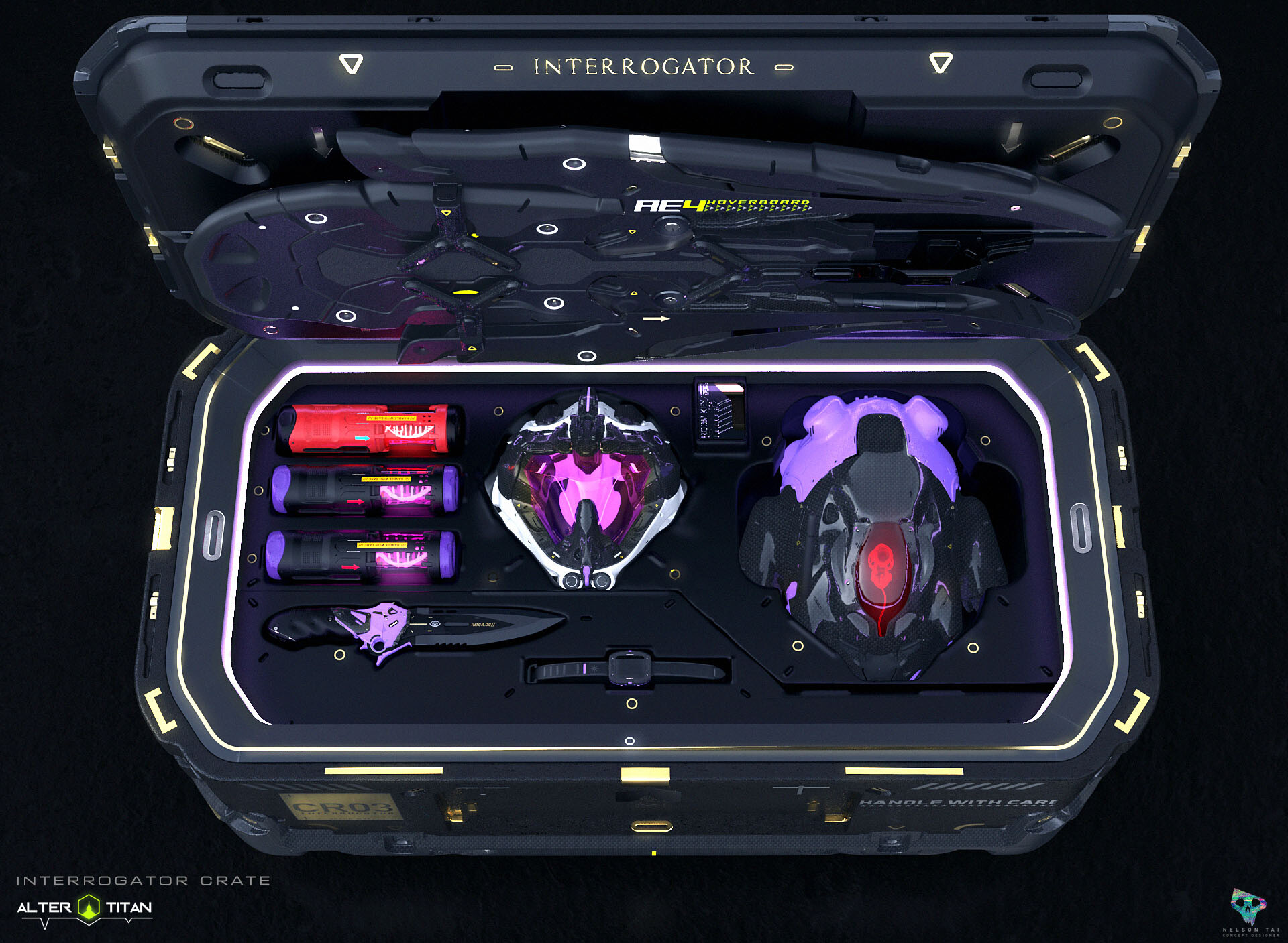 Interrogator's crate: comes with the highest grade for helmet, containers, dagger, link, droid, AND a hoverboard!
