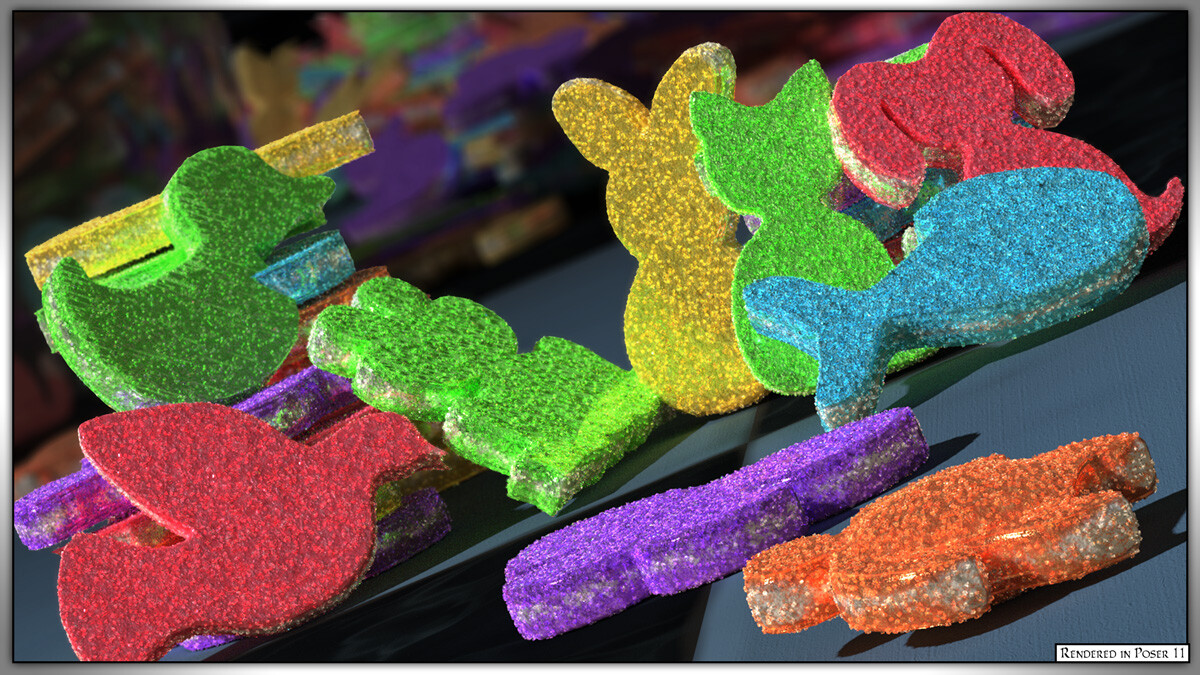 The candies rendered in Poser 11 with SuperFly/Cycles.