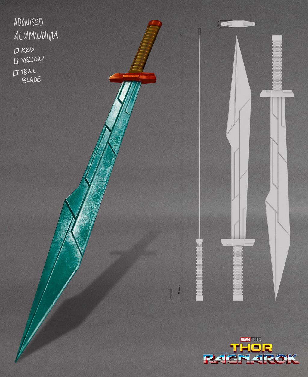 Thors' Sakaarian arena  sword,  the final asset was build  by Weta Workshop.