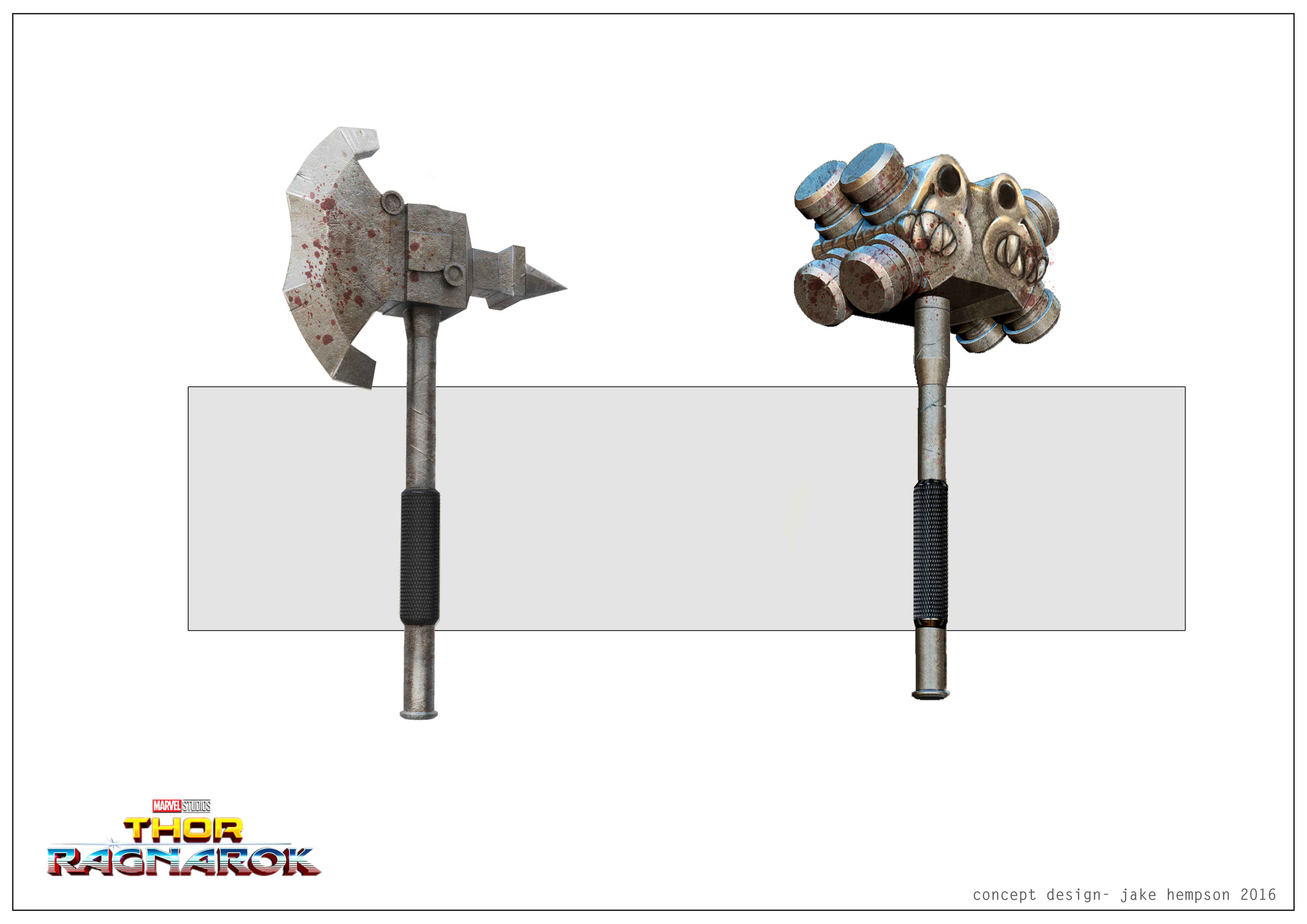 Hulk arena  weapons, hammer and  axe  (axe was replaced in post).
