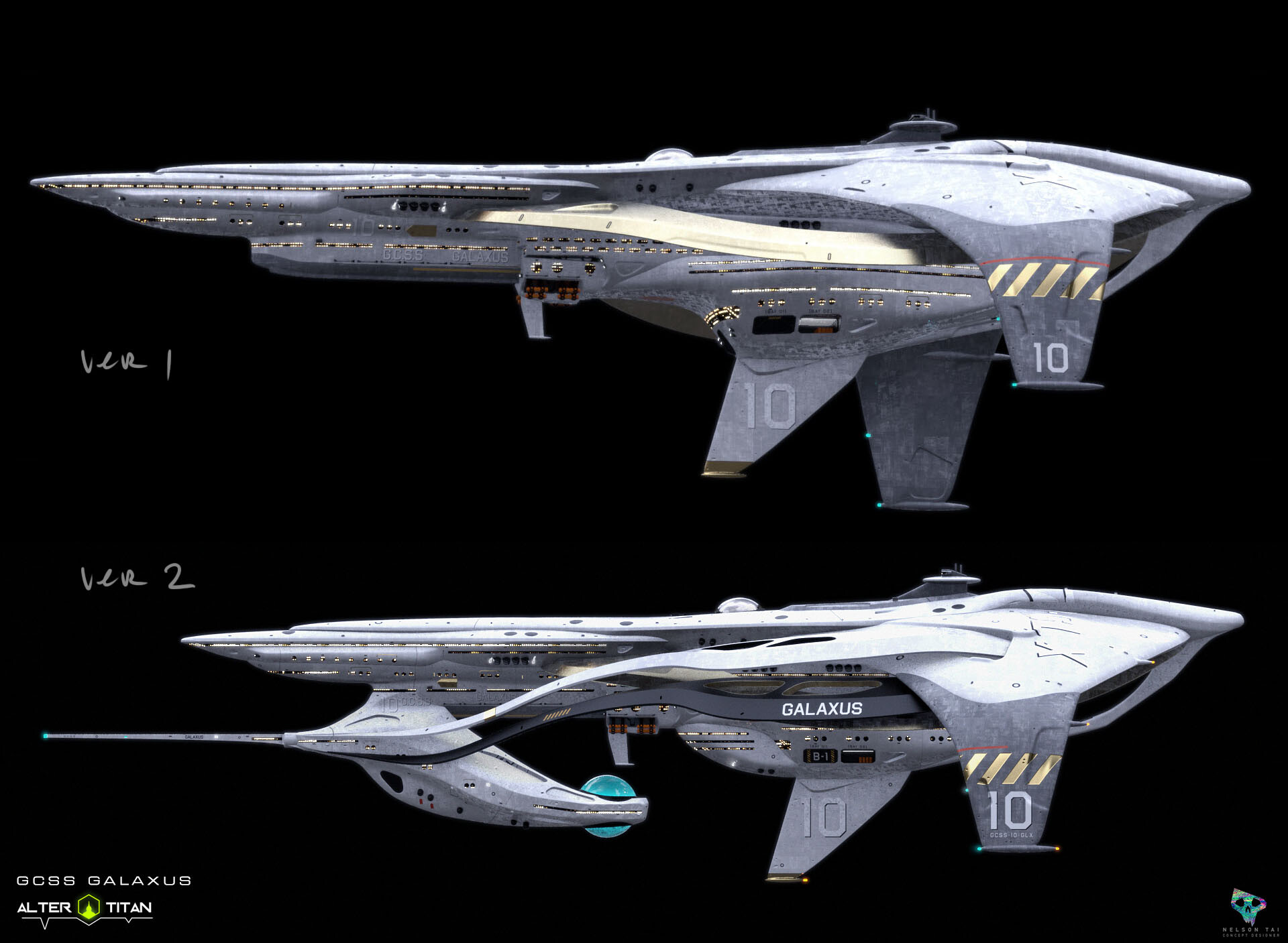 The carrier ship had less sections at first. Added more as client wanted more areas for Titans to explore.