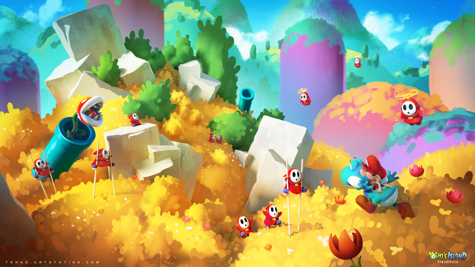 Yoshi's Island Remastered concept art : the hills
