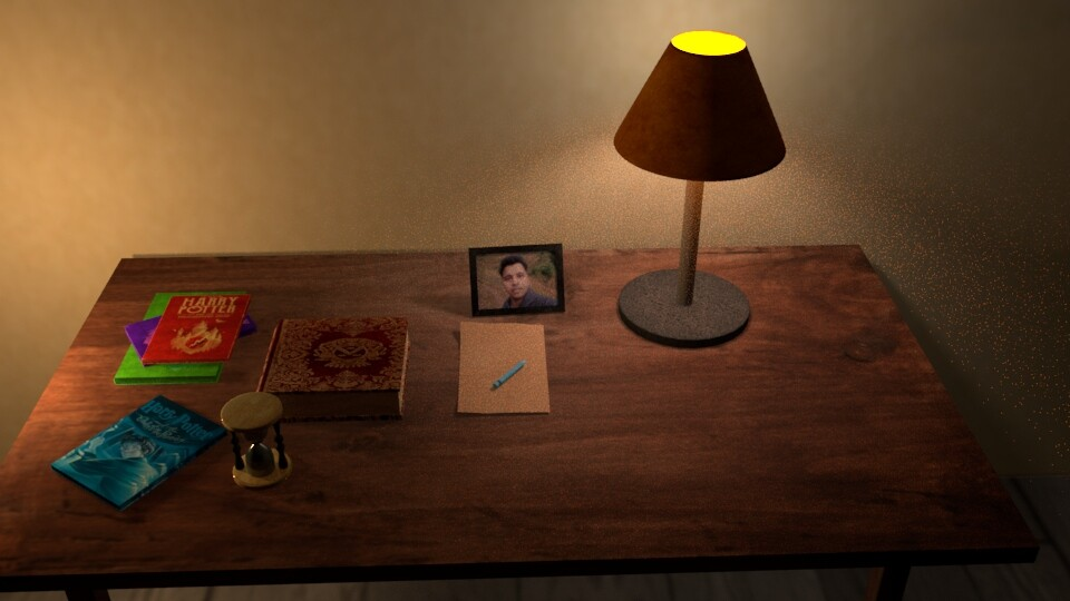 Table with Lamp and books With Yellow Lighting