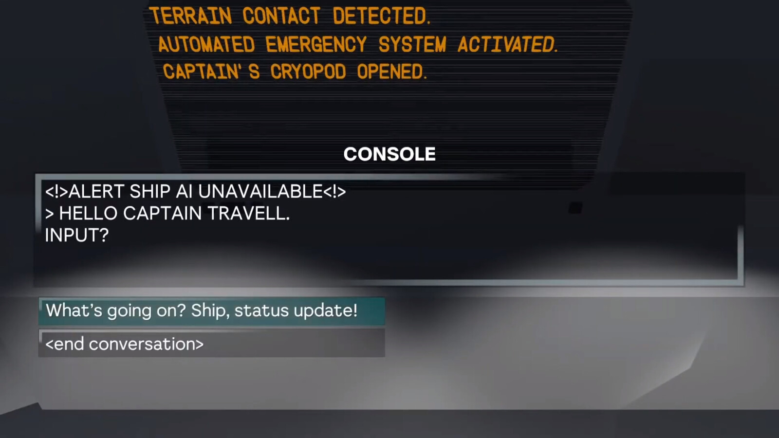 The ship's AI is mysteriously missing.
