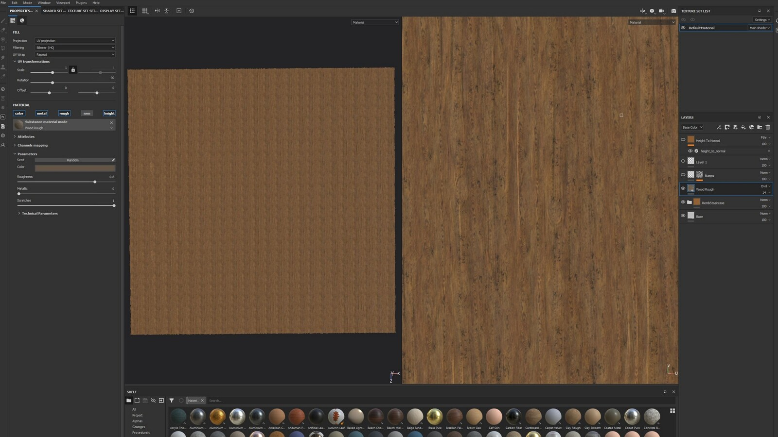 Import the smart material you created before. You may need to import individual texture layers sometimes depending on the texture complexity. Note that any specific paint layers will have to be added as individual masks.