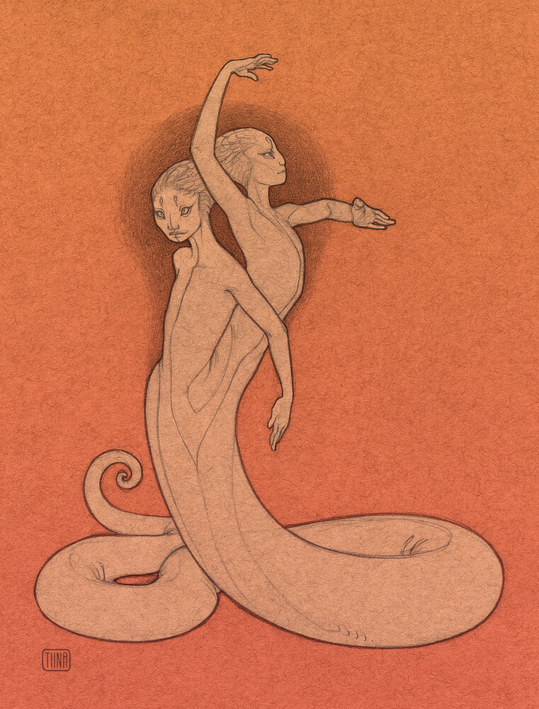 Medusa Inspired by a two-headed albino Honduran Milk Snake from a local reptile shop.