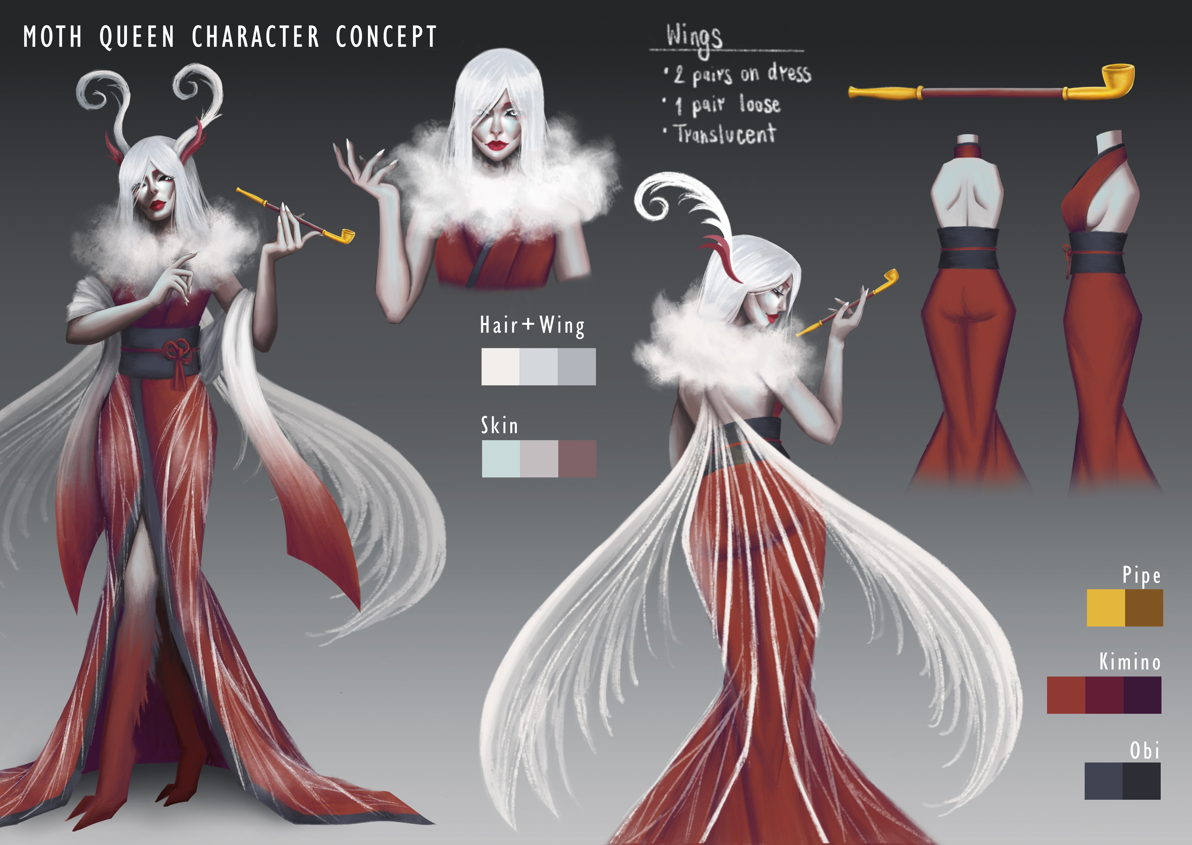 Moth Queen character design sheet - the protagonist in the game inspired by white plume moths