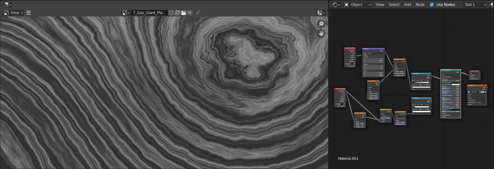 Texture Generator programmed in Blender for Texture Baking. Generates different Gas Giant textures and cracks.