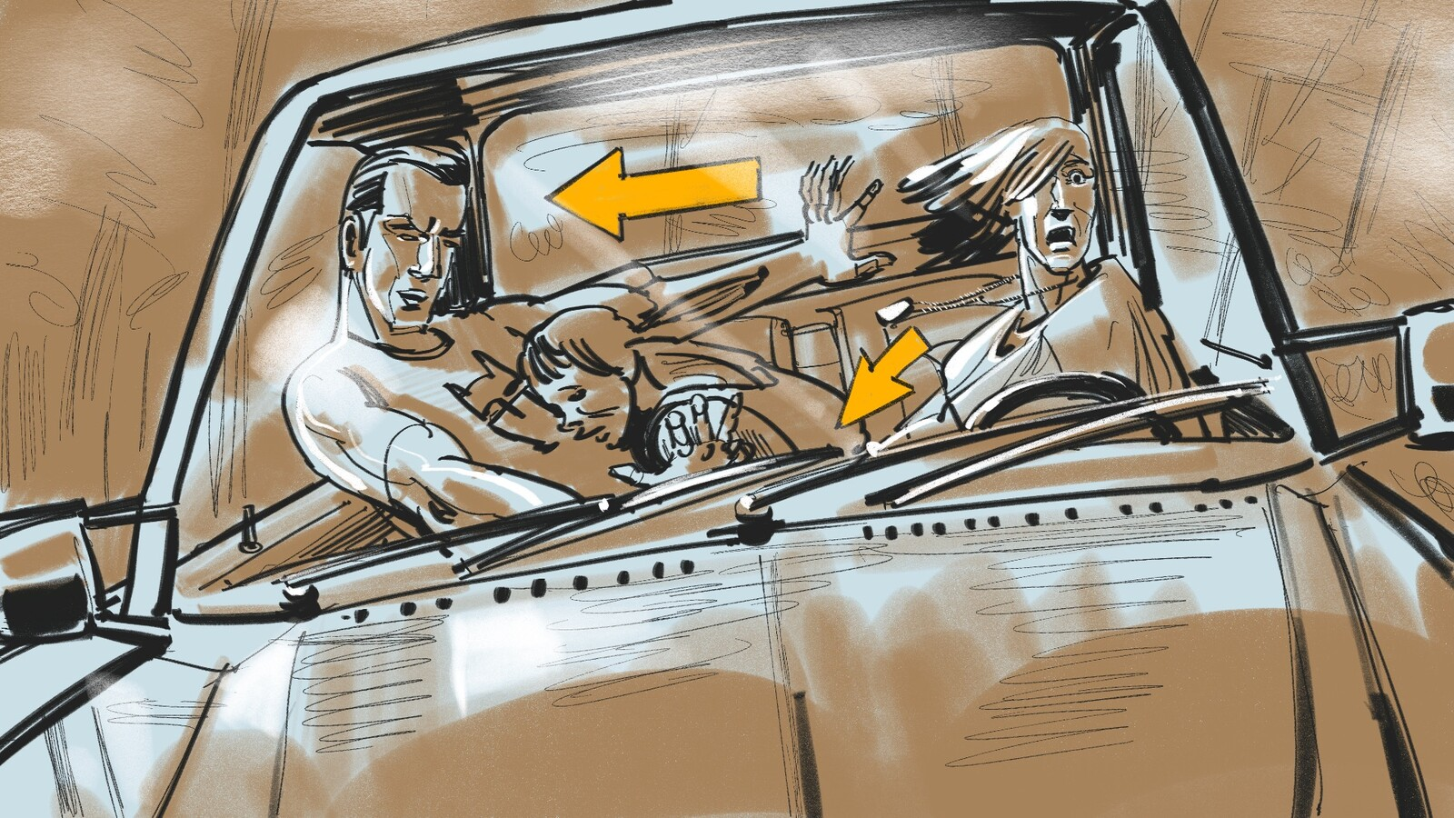 FRAME #21-MS-Med-Floating: Windshield: Haden cuts the wheel into...