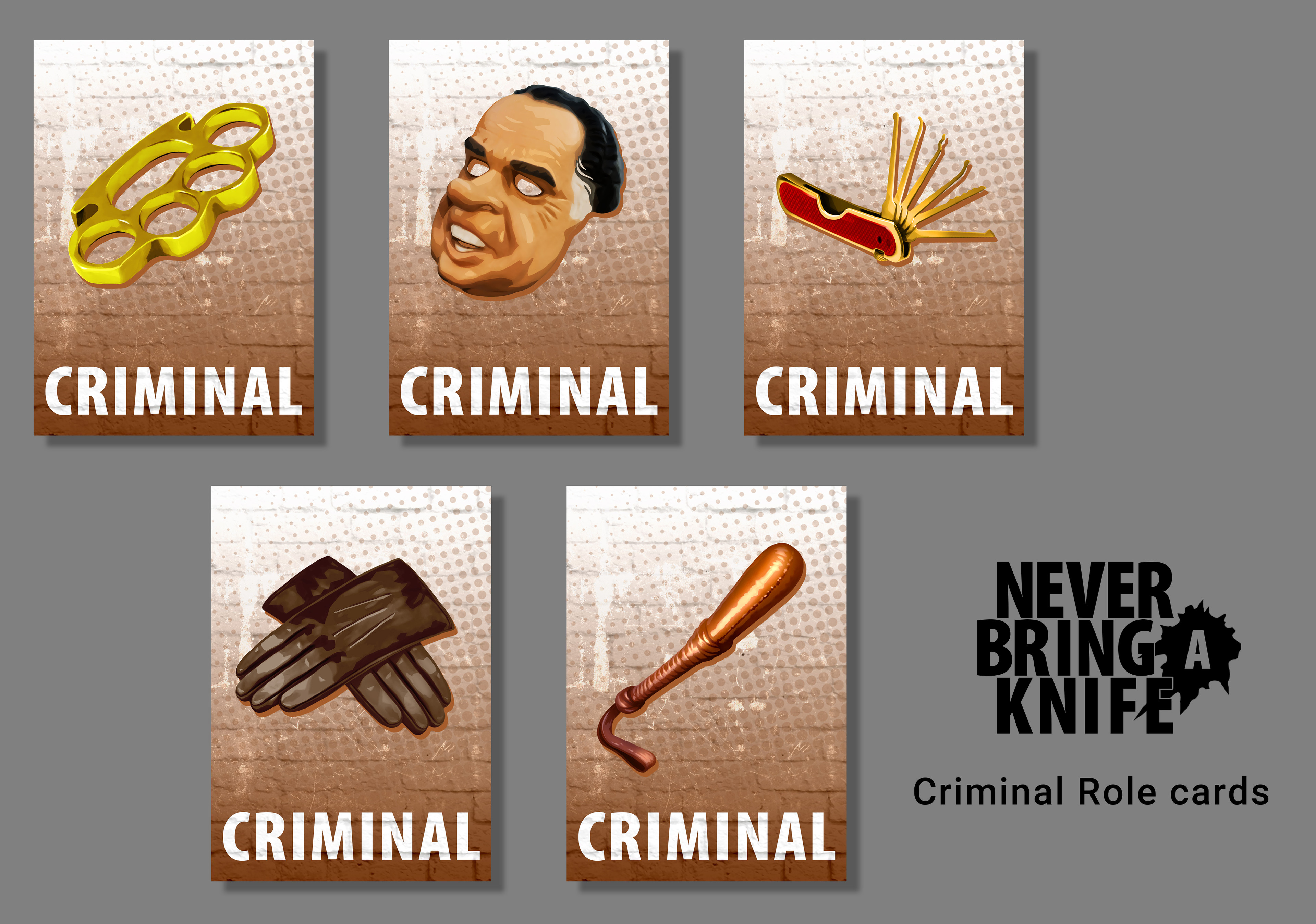 Criminal Role cards for the Never Bring a Knife card game from Atlas Games.