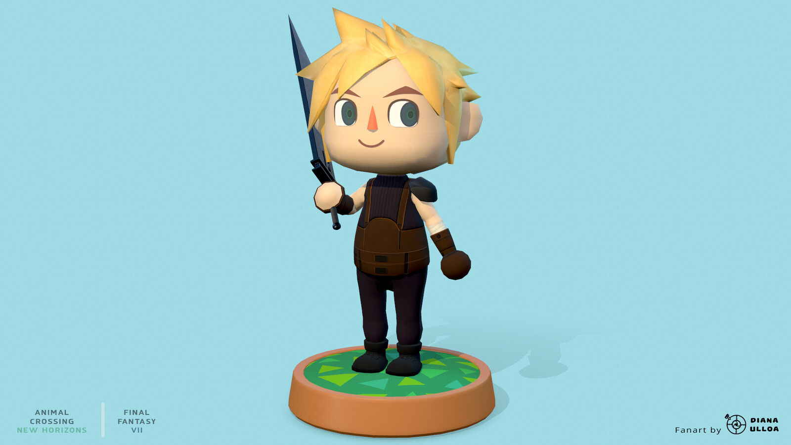 Custom Villager character. A crossover between Final Fantasy VII and Animal Crossing New Horizons