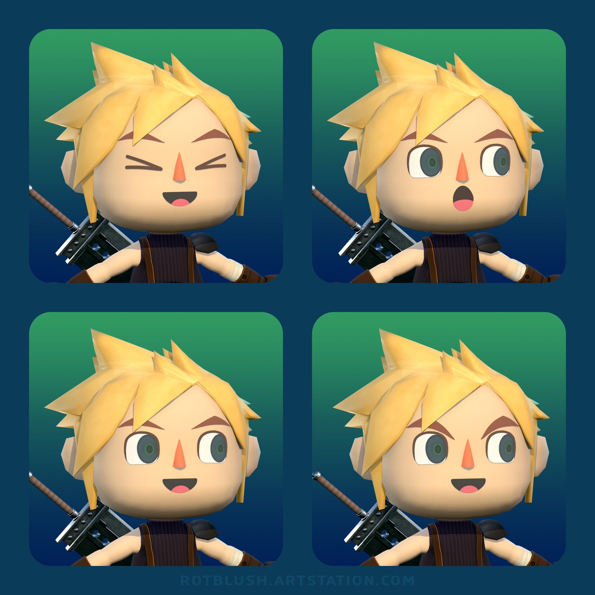 Different 2D facial expressions