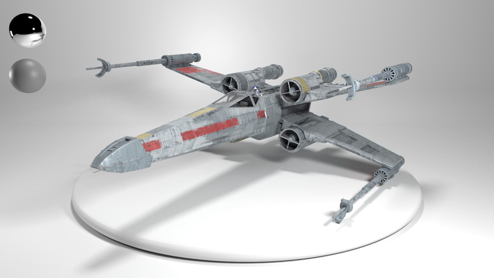 """The texture-work/paint-job is based on Luke Skywalker's X-Wing """"Red 5,"""" signified by the segmented red line, the gold paint trim, and the blue stripes along the blasters."""
