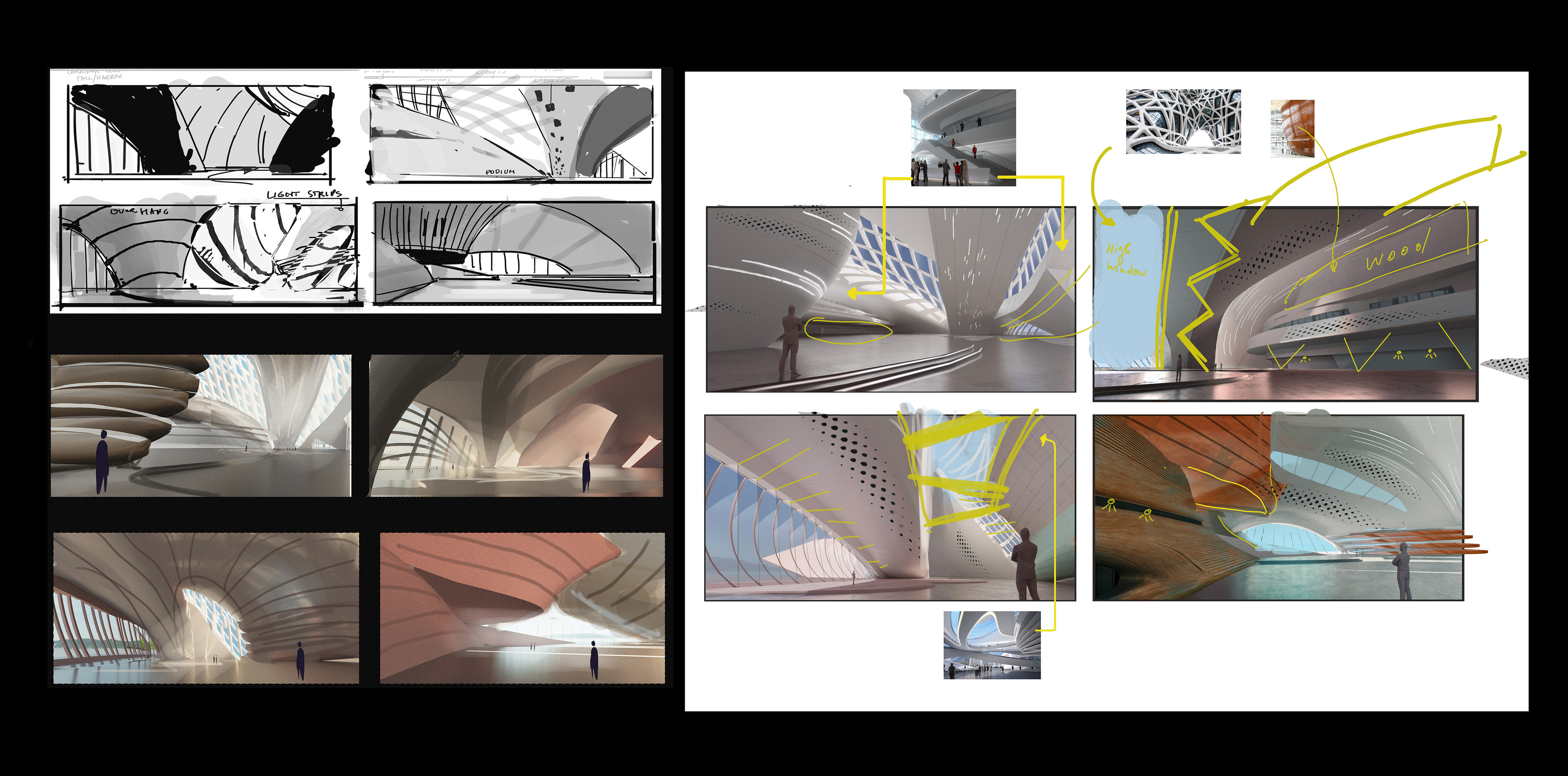 First sketches and draft as a idealization part of the spaces.