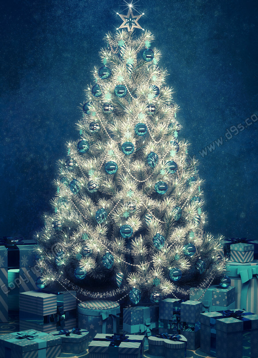A lovely holiday card featuring presents under the decorated tree in festive azure tones.