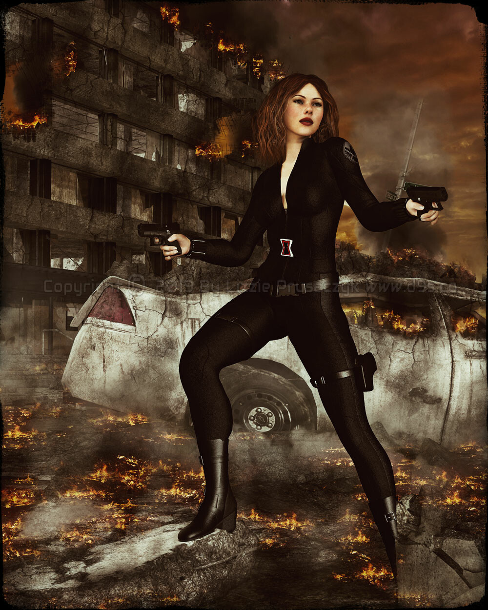 The notorious Black Widow is in the midst of a deadly battle in a city that has been turned to rubble and ruin.