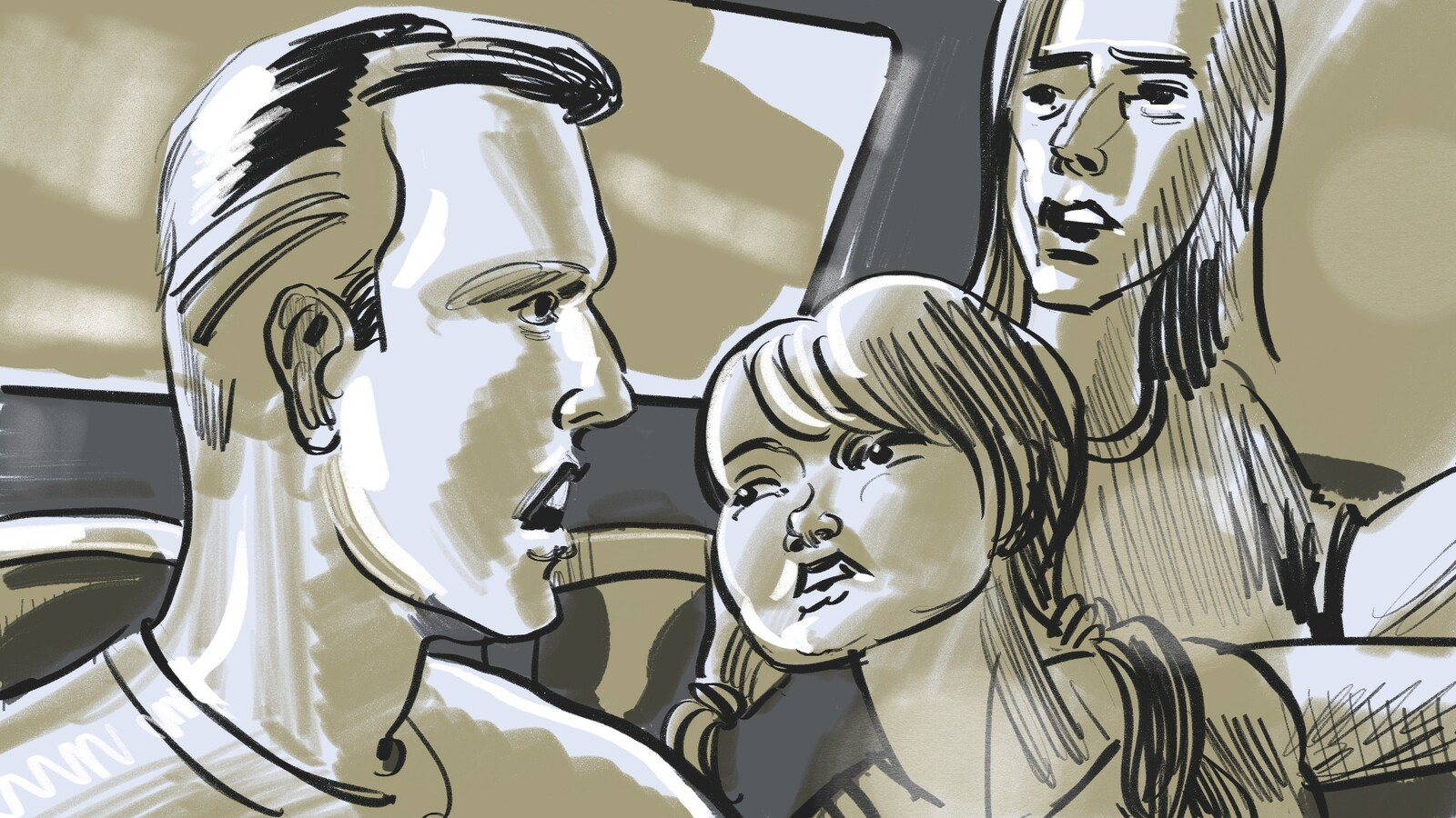FRAME #25-MS-Med-Floating: 3-shot: Nick, Haden and Z talking the cab.