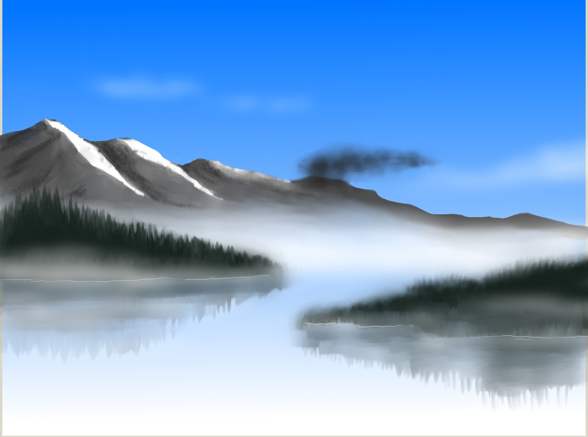 A (mostly) peaceful foggy landscape.